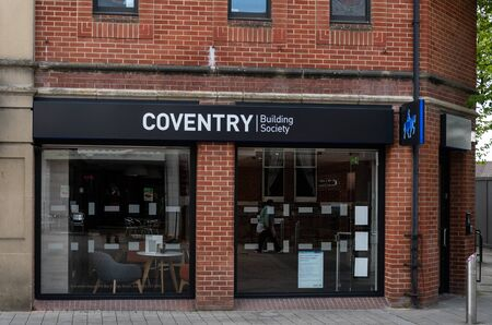 Swindon, United Kingdom - May 04 2019:   The entrance to Coventry Building Society branch on Regent Street Редакционное