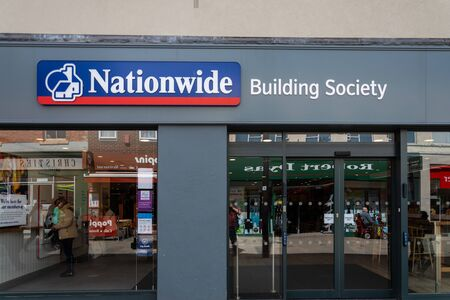 Swindon, United Kingdom - May 04 2019:   The entrance to Nationwide Building society branch on Regent Street