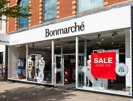 Swindon, United Kingdom - May 04 2019:   The entrance to Bonmarche Clothes store on Regent Street