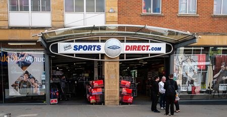 Swindon, United Kingdom - May 04 2019:   The entrance to the Sports Direct sport and clothign store on Regent Street