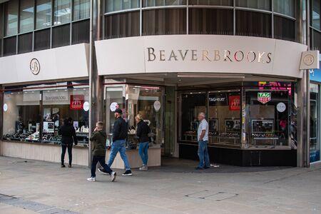 Swindon, United Kingdom - May 04 2019:   The Entrance to Beaverbrooks shop on Regent Street