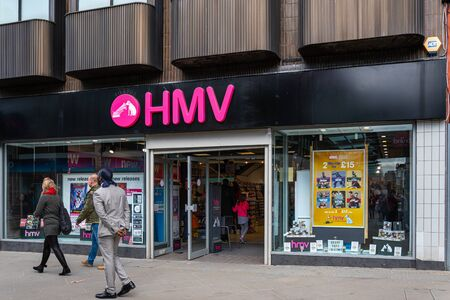 Swindon, United Kingdom - May 04 2019:   The entrance to the HMV Music and Video store on Regent Street