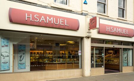 Swindon, United Kingdom - May 04 2019:   The frontage of H Samuel jewelers shop In Regent St