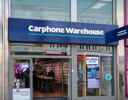 Swindon, United Kingdom - May 04 2019:   The frontage of Carphone Warehouse mobile phone shop in Regent St Редакционное