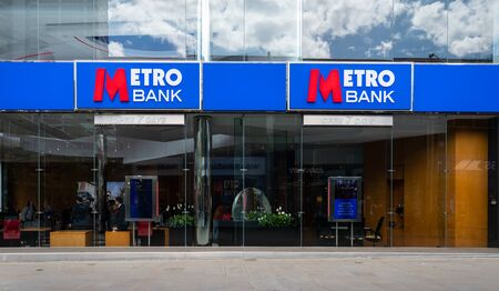 Swindon, United Kingdom - May 04 2019:   The frontage of the Metro Bank branch in Regent Street