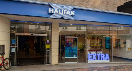Swindon, United Kingdom - May 04 2019:   The frontage of Halifax Bank branch on Regent St
