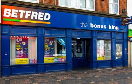 Swindon, United Kingdom - May 04 2019:   The Frontage to Betfred bookmakers on Bridge Street