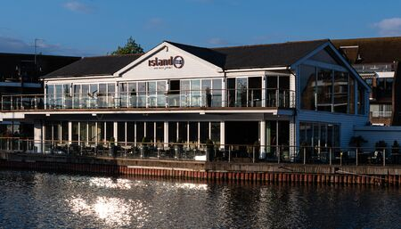 Reading, United Kingdom - May 24 2019:   Island Reataurant and bar on the River Thames viewed from the Thames Path