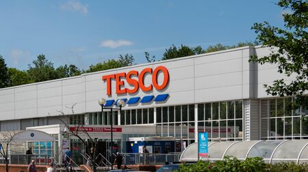Newbury, United Kingdom - May 27 2019:   The entrance to Tesco superstore on London Road