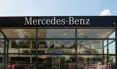 Newbury, United Kingdom - May 27 2019:   The front of Mercedes-Benz car showroom on London Road