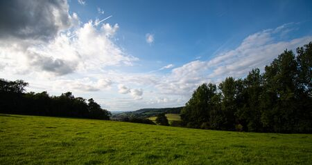 A view across the Cotswolds from a field near Alderley