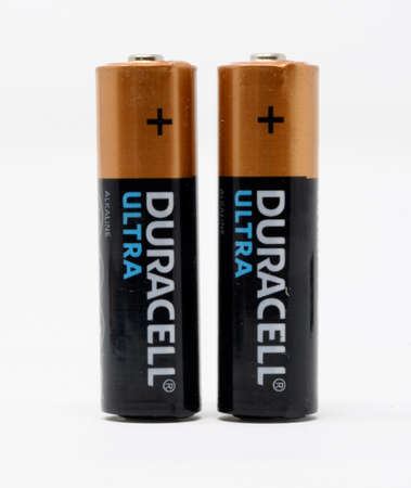 Reading, United Kingdom - December 29 2019:  Two Duracell Ultra AA batteries Editorial