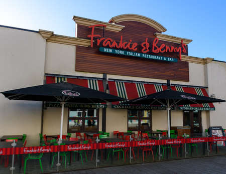 Chichester, United Kingdom - January 19 2020:  The frontage of Frankie and Bennys restaurant at Chichester Gate