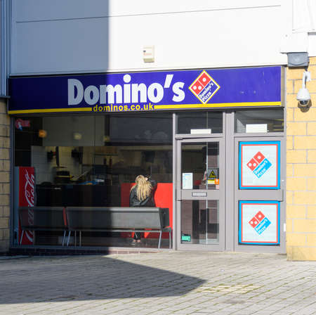 Chichester, United Kingdom - January 19 2020:  The frontage of Dominos take away at Chichester Gate