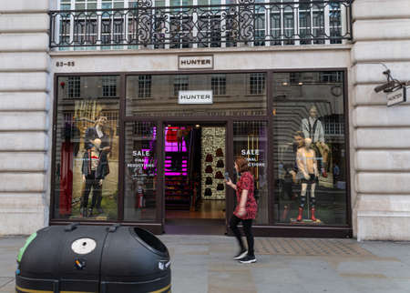 London, United Kingdom - August 18 2019:  The front of the Hunter clothing store on Regent Street