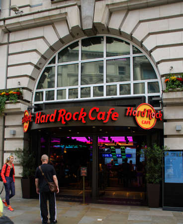 London, United Kingdom - August 18 2019:   The frontage of the Hard Rock Cafe on Coventry Street