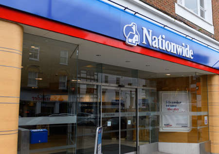 Guildford, United Kingdom - November 06 2019:   The entrance to the Nationwide bank branch  on High Street