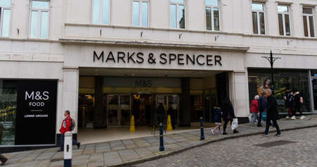 Guildford, United Kingdom - November 06 2019:   The entrance to Marks and Spencer store on High Street