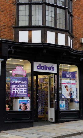 Guildford, United Kingdom - November 06 2019:   The Entrance to Claires accessory shop on High Street Editorial