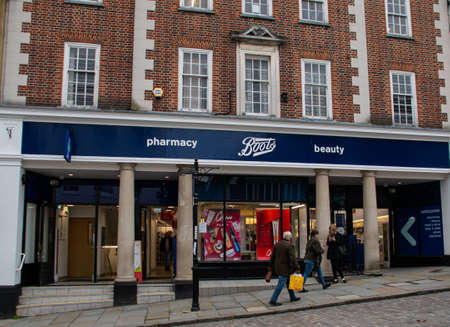Guildford, United Kingdom - November 06 2019: The frontage of Boots Chemist in High Street Editorial