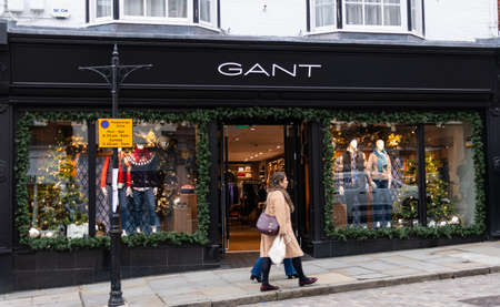 Guildford, United Kingdom - November 06 2019:  The frontage of Gant clothes shop in High Street Editorial