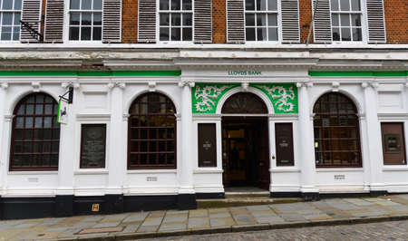 Guildford, United Kingdom - November 06 2019:  The frontage of Lloyds Bank branch on High St