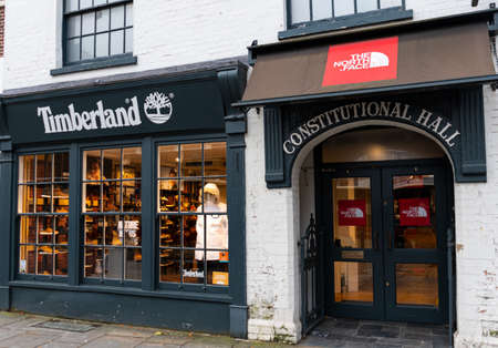Guildford, United Kingdom - November 06 2019:  The frontage of the Timberland outdoor clothing stoor on High St