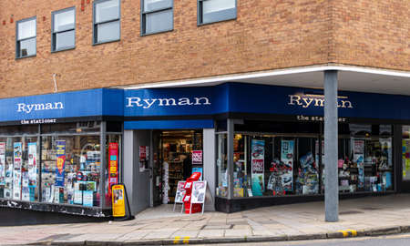 Guildford, United Kingdom - November 06 2019:  The frontage of Ryman stationary store on High Street