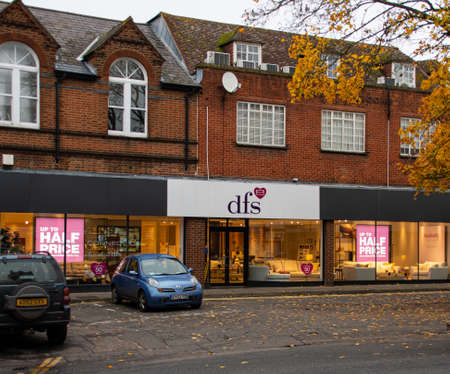 Guildford, United Kingdom - November 06 2019:  The frontage of DFS furniture store on North Street