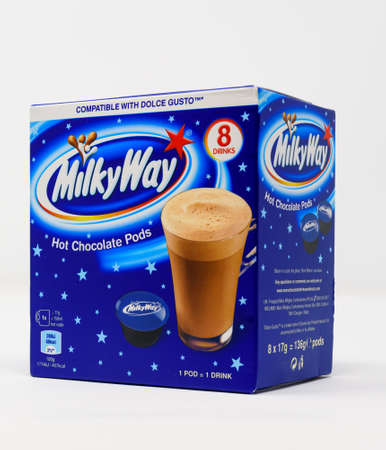 Reading, United Kingdom - December 29 2019:  A box of Milky Way hot chocolate drink pods for a Dolce Gusto coffee machine Editorial