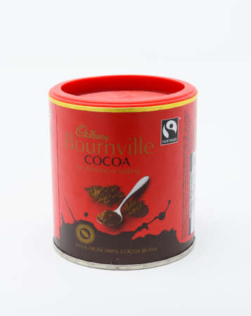 Reading, United Kingdom - December 29 2019:  A tin of Cadbury's Bournville Cocoa Chocolate powder