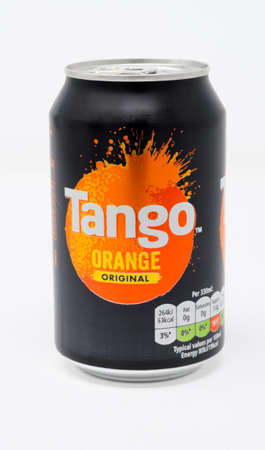 Reading, United Kingdom - December 29 2019:  A can of Tango Orange carbonated drink