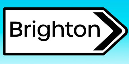 A graphic illlustration of a British road sign pointing to Brighton