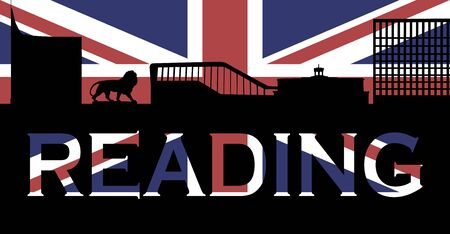 Graphic of Reading skyline comprising The Blade, Reading Station, Three Guineas pub and Thames tower against a Union Jack Banco de Imagens
