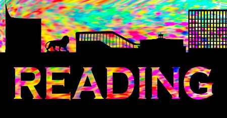 Graphic of Reading skyline comprising The Blade, Reading Station, Three Guineas pub and Thames tower against a smeared paint pattern Banco de Imagens