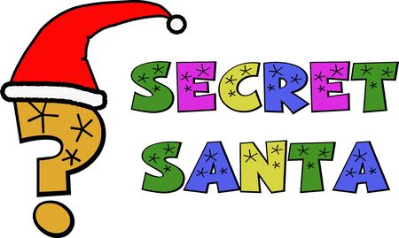 A cartoon style graphic of a quesion mark wearing a Santa hat to advertise Secret Santa.
