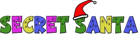 A cartoon style graphic to advertise a Secret Santa, with a santa hat on.