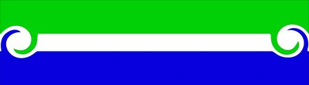 A logo of stripes with twisted ends in Green and Blue