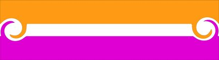 A logo of stripes with twisted ends in Orange and Pink