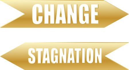 A pair of arrows indicating Change and Stagnation