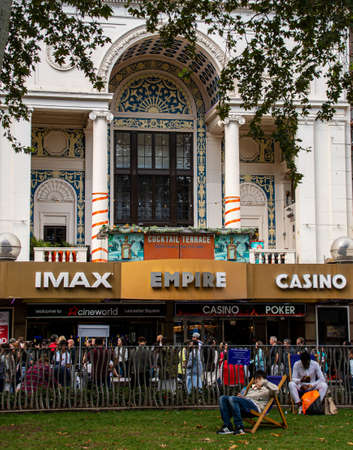 London, United Kingdom - August 18 2019: The frontage of the Cineworld Empire cinema in Leicester Square