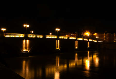 Night time shot of the Worcester Bridge over the River Severn