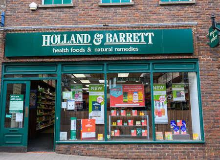 Newbury, United Kingdom - June 09 2020: The frontage of Holland and Barrett Helath food shop in Northbrook St Sajtókép