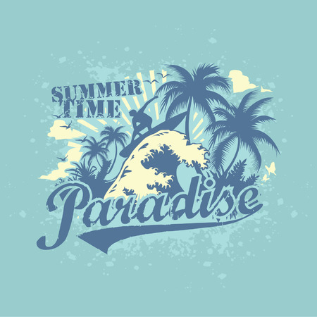 paradise: surfing paradise vector