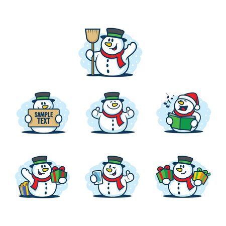 snow man: snow man character set Illustration