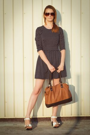 casua: Happy young fashion woman Stock Photo