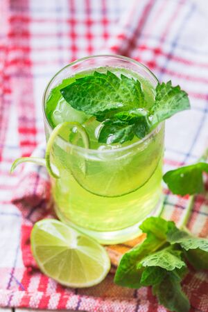 sourness: Soft drink with lime, ice and mint