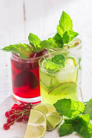Refreshing drinks and various fresh fruits and berries