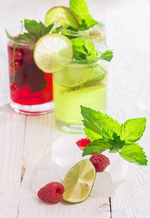 currents: Refreshing drinks and various fresh fruits and berries