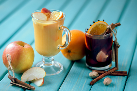 wine with spices and fruits. mulled wine Stock Photo